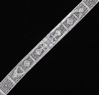 14KT 1.25 CT TW DIAMOND FILAGREE BRACELET CIRCA 1920