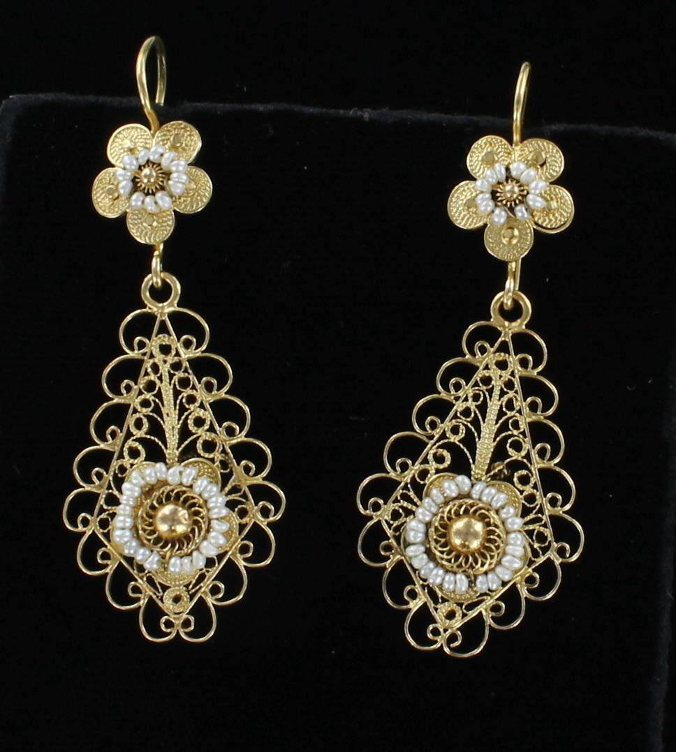 14KTY VICTORIAN SEED PEARL EARRINGS
