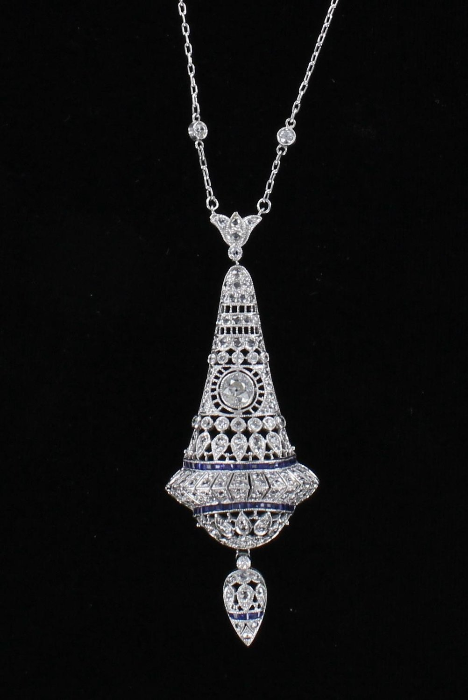 PLATINUM/14KT FILAGREE DIAMOND AND SAPPHIRE PENDANT