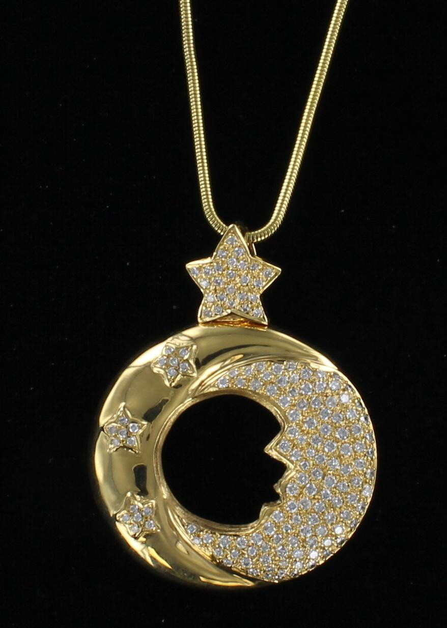 18KT MOON AND STAR PENDANT