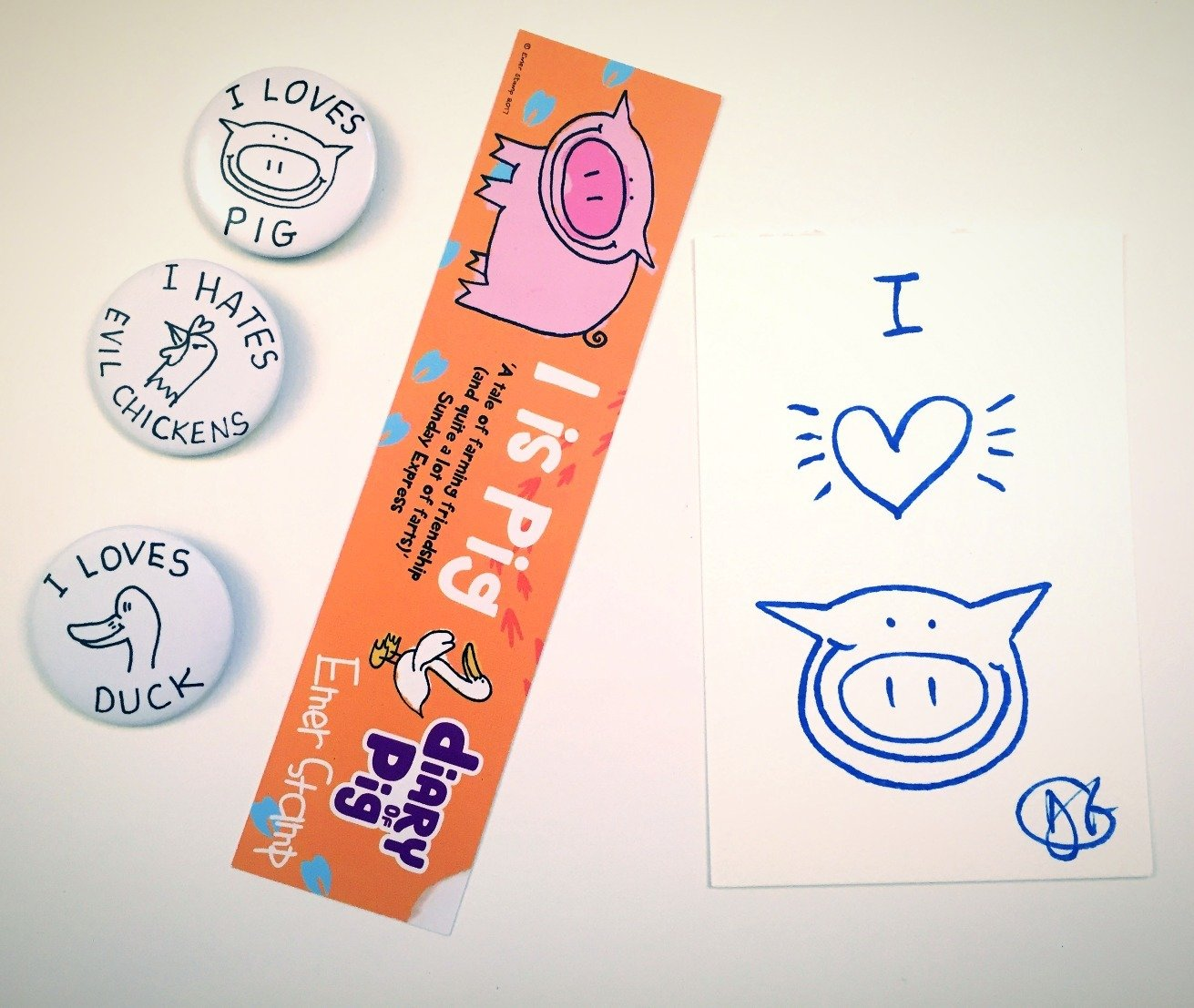 Pig's bookmark and badges