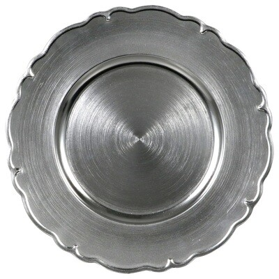 Silver Scalloped Charger Plate