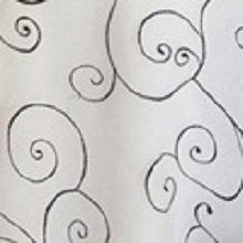 Black on White Organza Swirl Linens