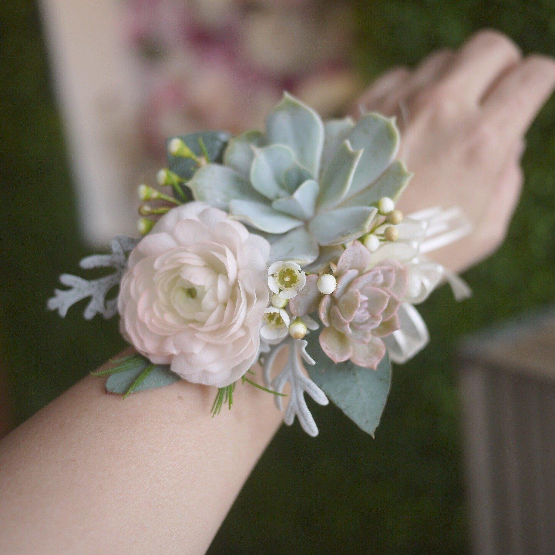 Succulent & flower corsage