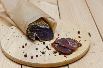 Chilli Biltong Sliced. $27.99 per LB. Sold in $20.15 bags of 0.72LB per bag.