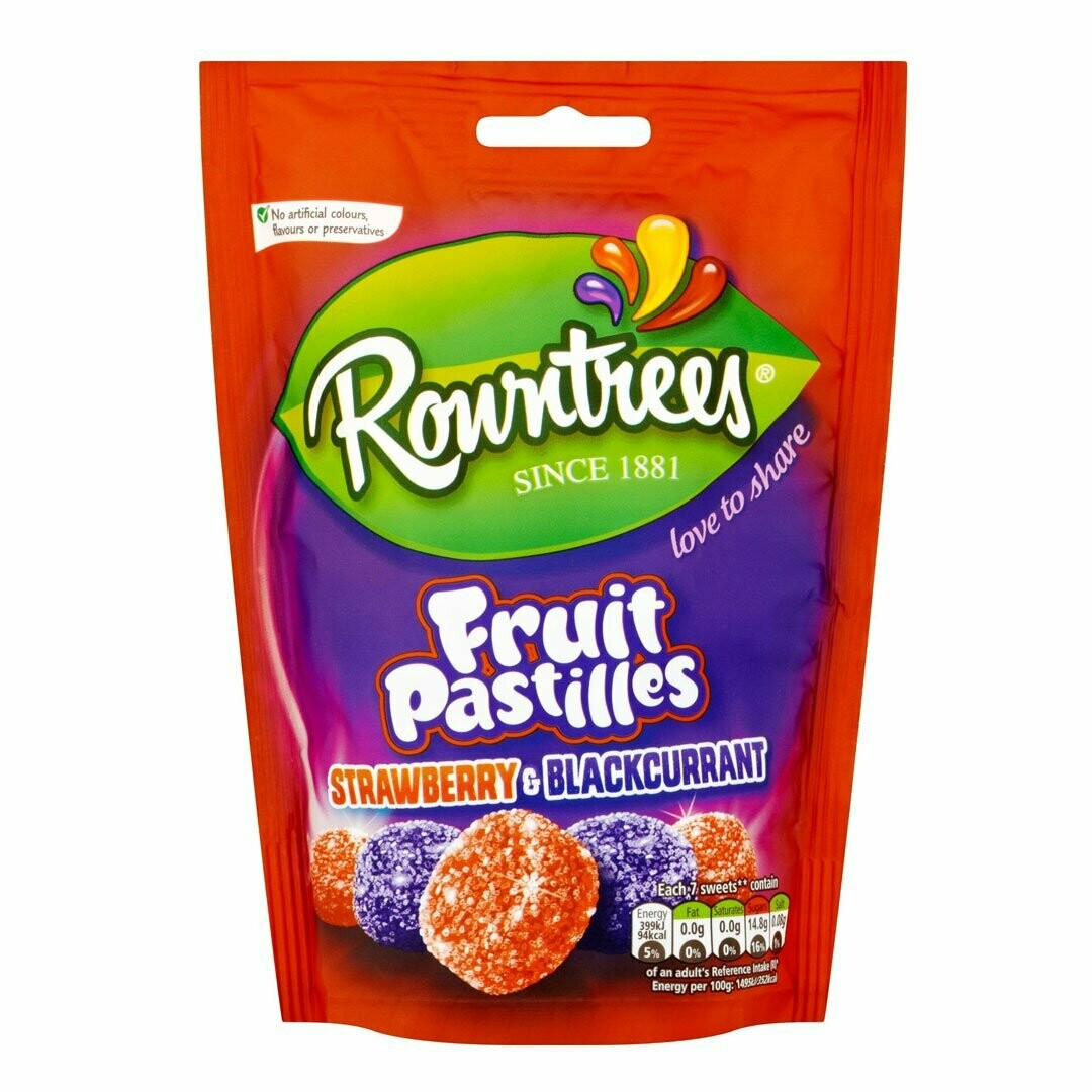 Rowntrees Fruit Pastilles Strawb and Blackcurrant