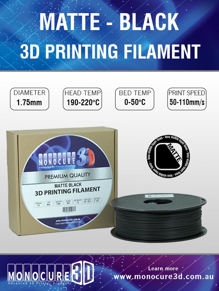Monocure3D Matte Black PLA - 1.75mm - 1kg