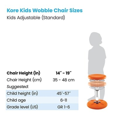 KORE Kids Adjustable Standard Wobble Chair 14