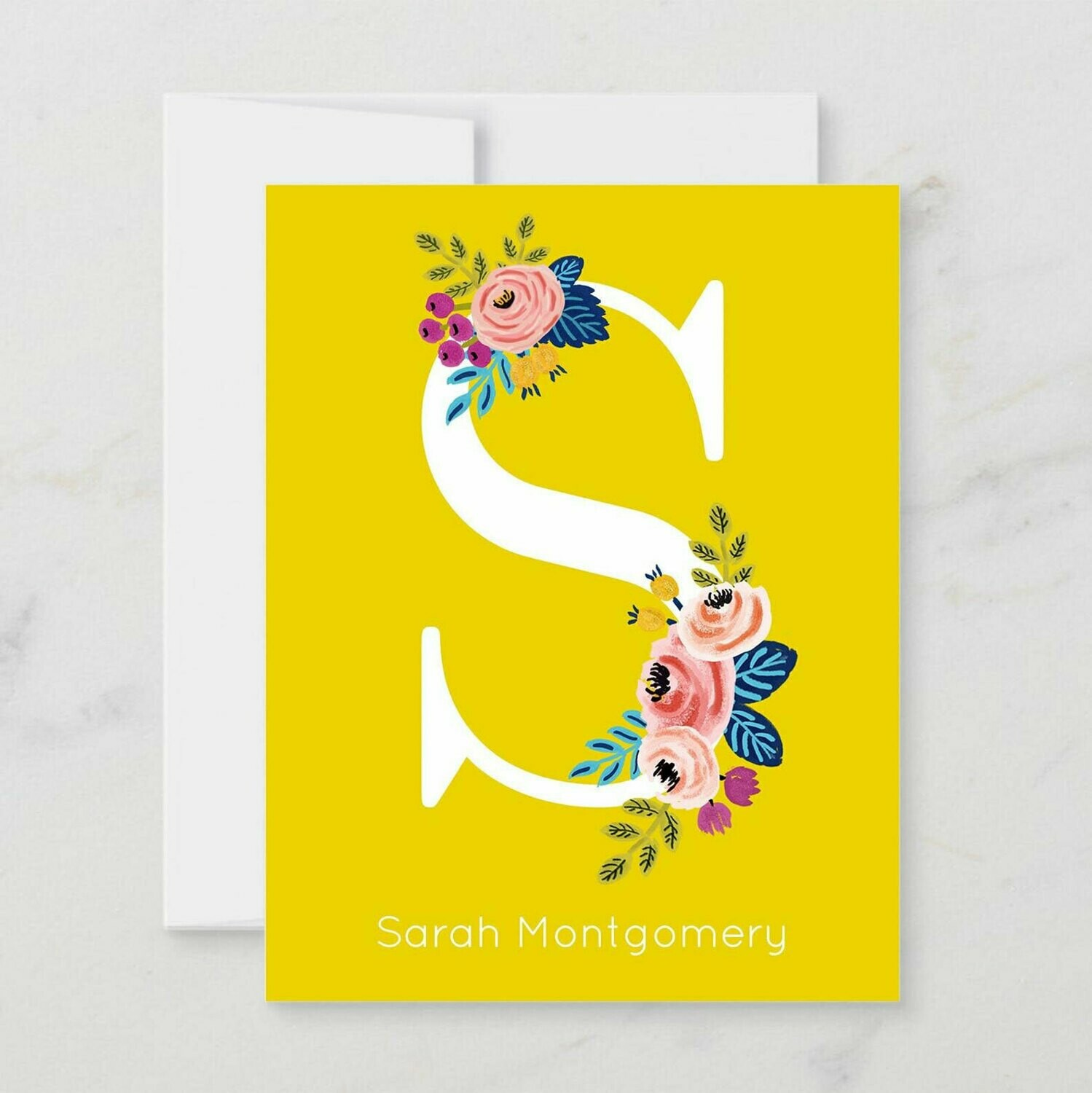 Yellow Floral Initial Folded Notecards