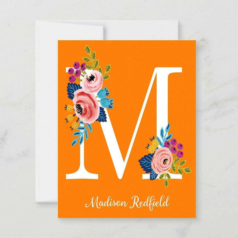 Orange Floral Initial Folded Notecards