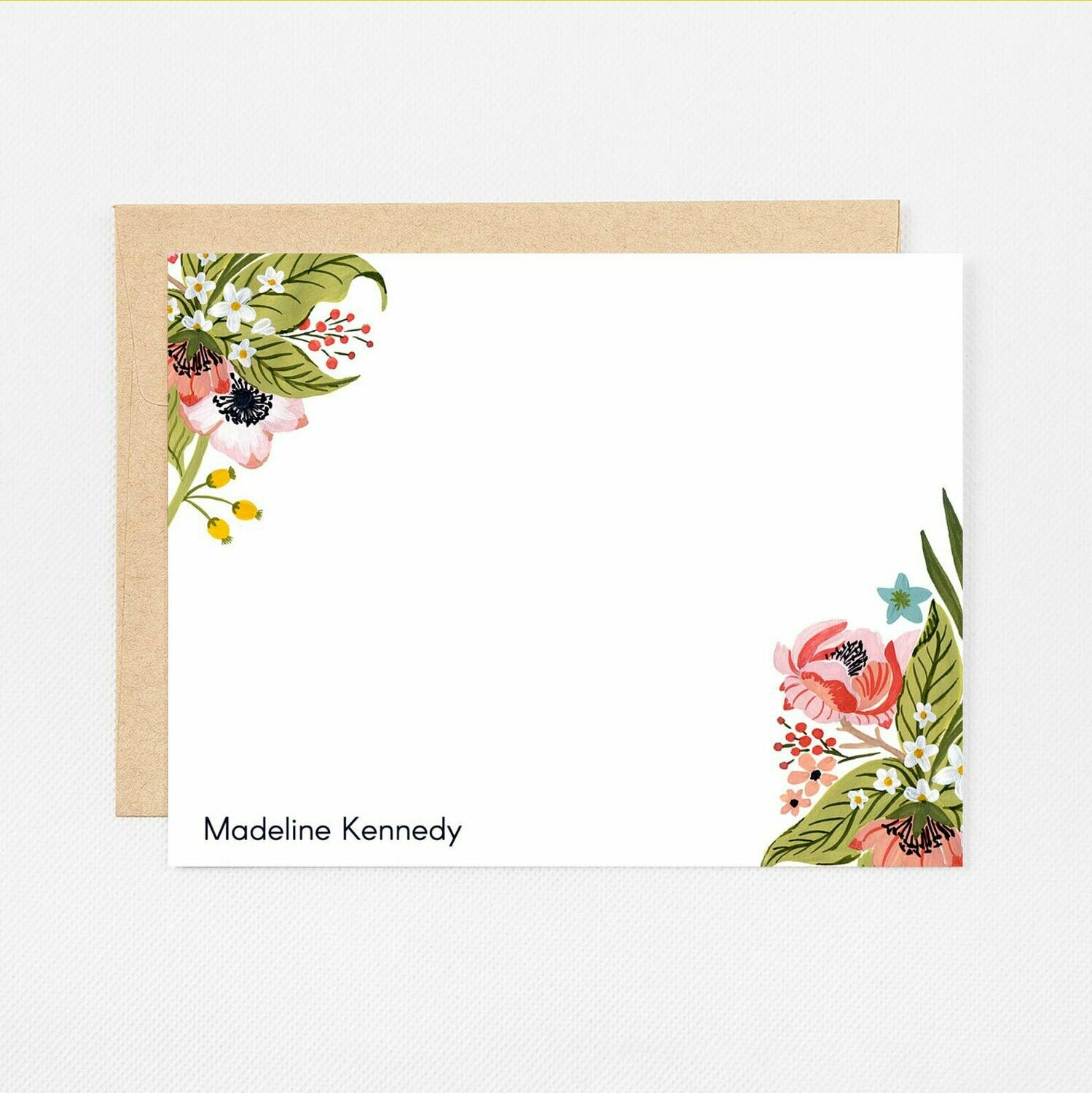 Floral Corners Flat Notecards