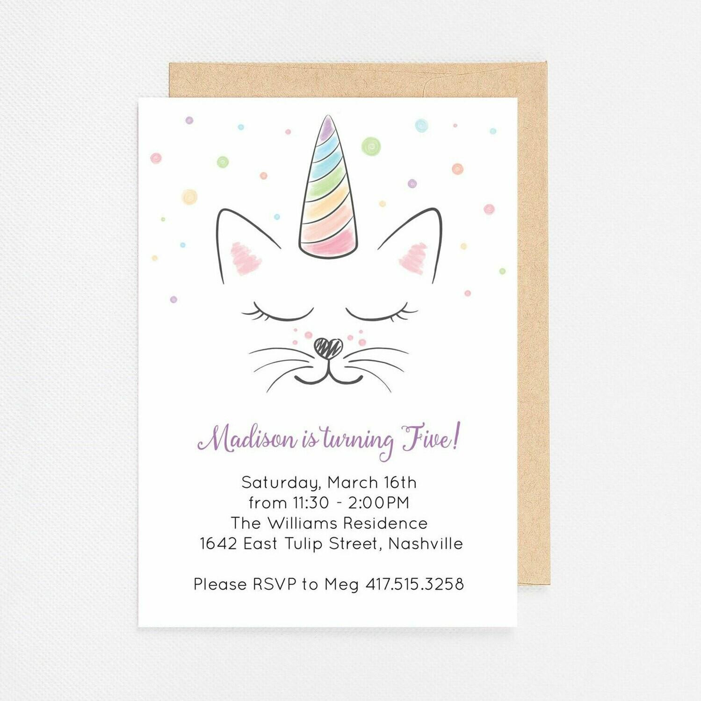 Caticorn Kitten Unicorn Invitation - Digital or Printed