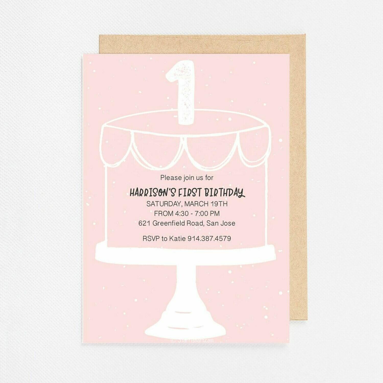 First Birthday Modern Cake Invite - Digital or Printed