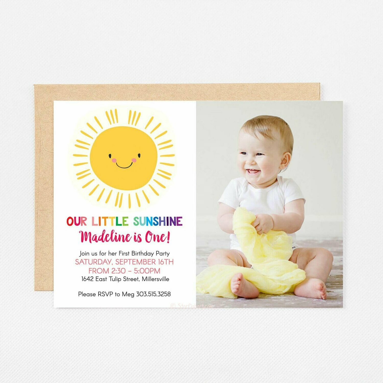 Sunshine Birthday Photo Card Invitation - Digital or Printed