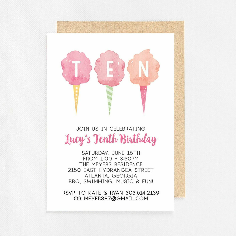 Cotton Candy Tenth Birthday Invitation - Digital or Printed