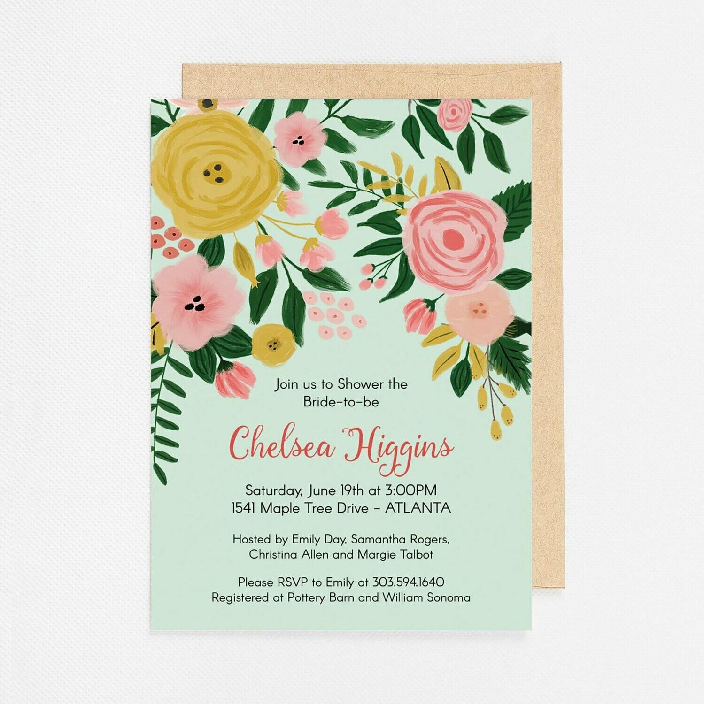 Modern Mint Floral Invitation - Digital or Printed