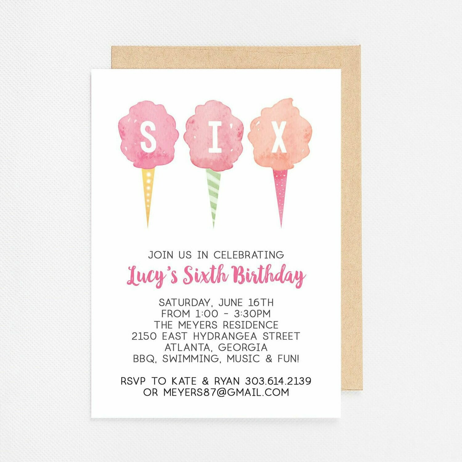 Cotton Candy Sixth Birthday Invitation - Digital or Printed