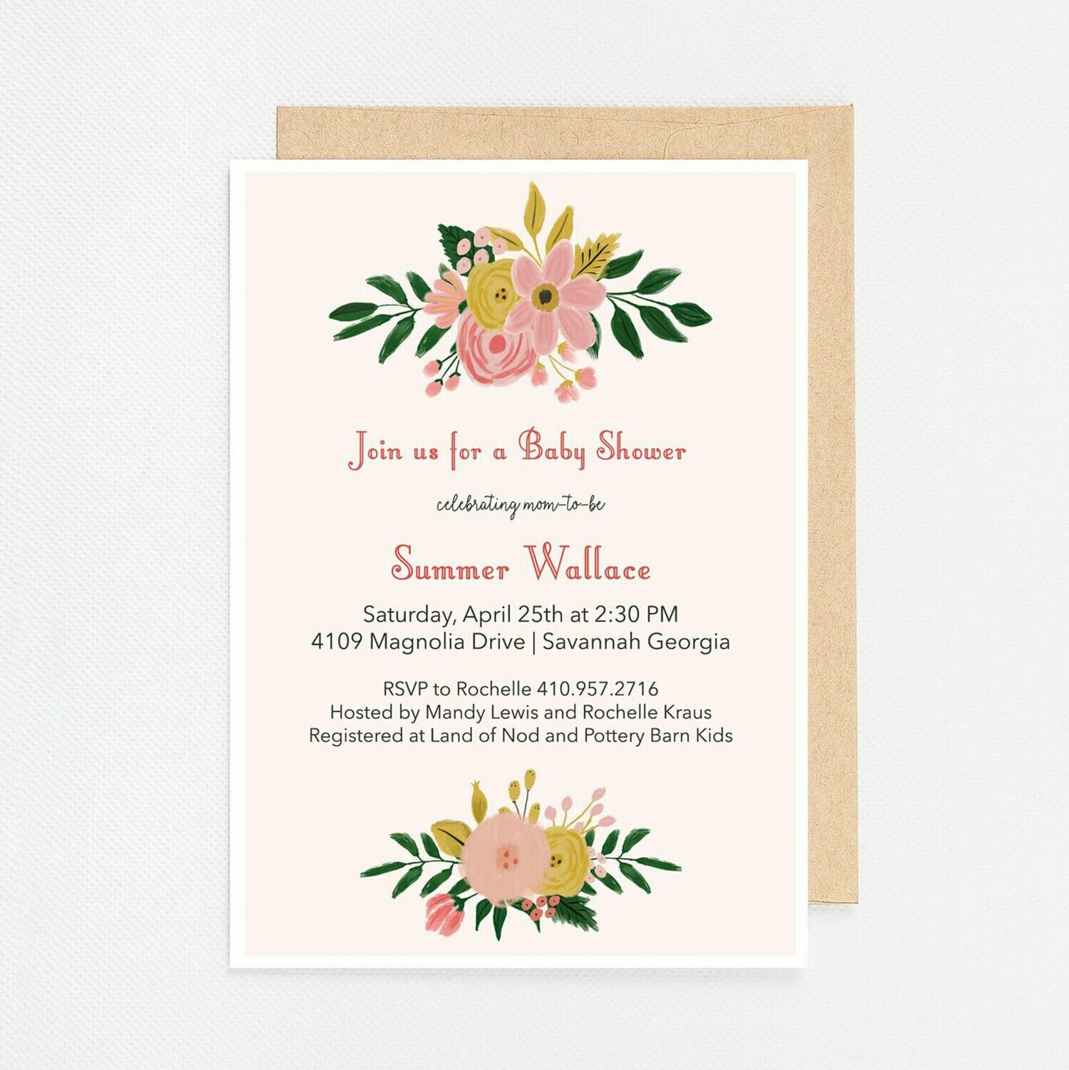 Floral Bouquets Invitation - Digital or Printed