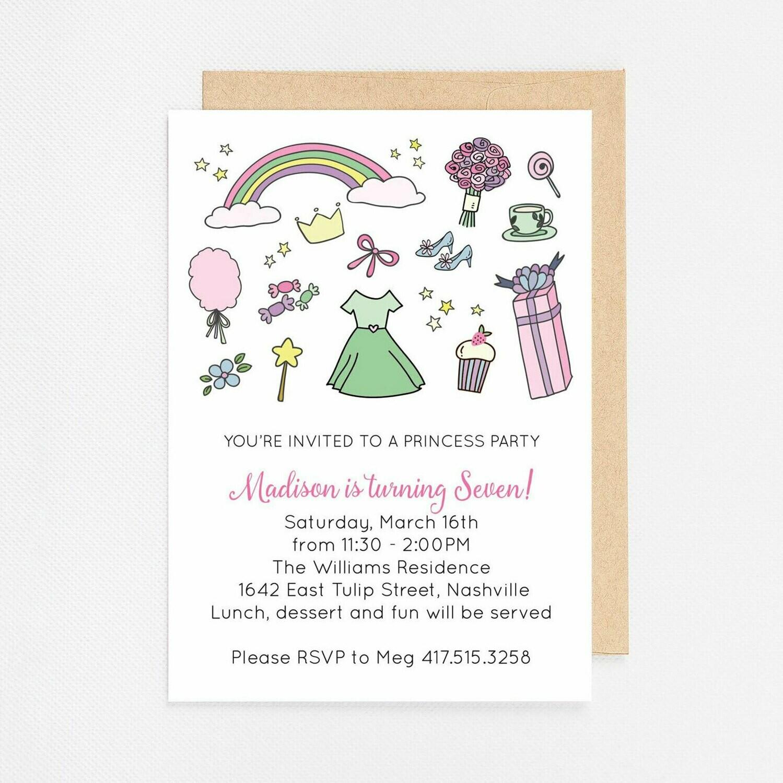 Princess Party Invitation - Digital or Printed