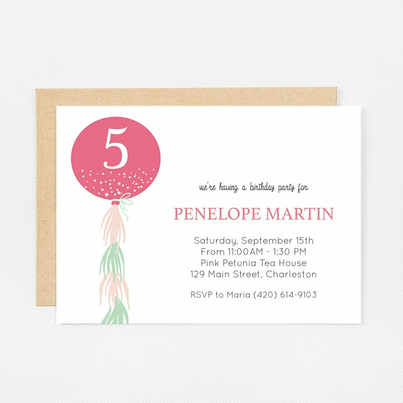 Pink Watercolor Balloon Invitation - Digital or Printed