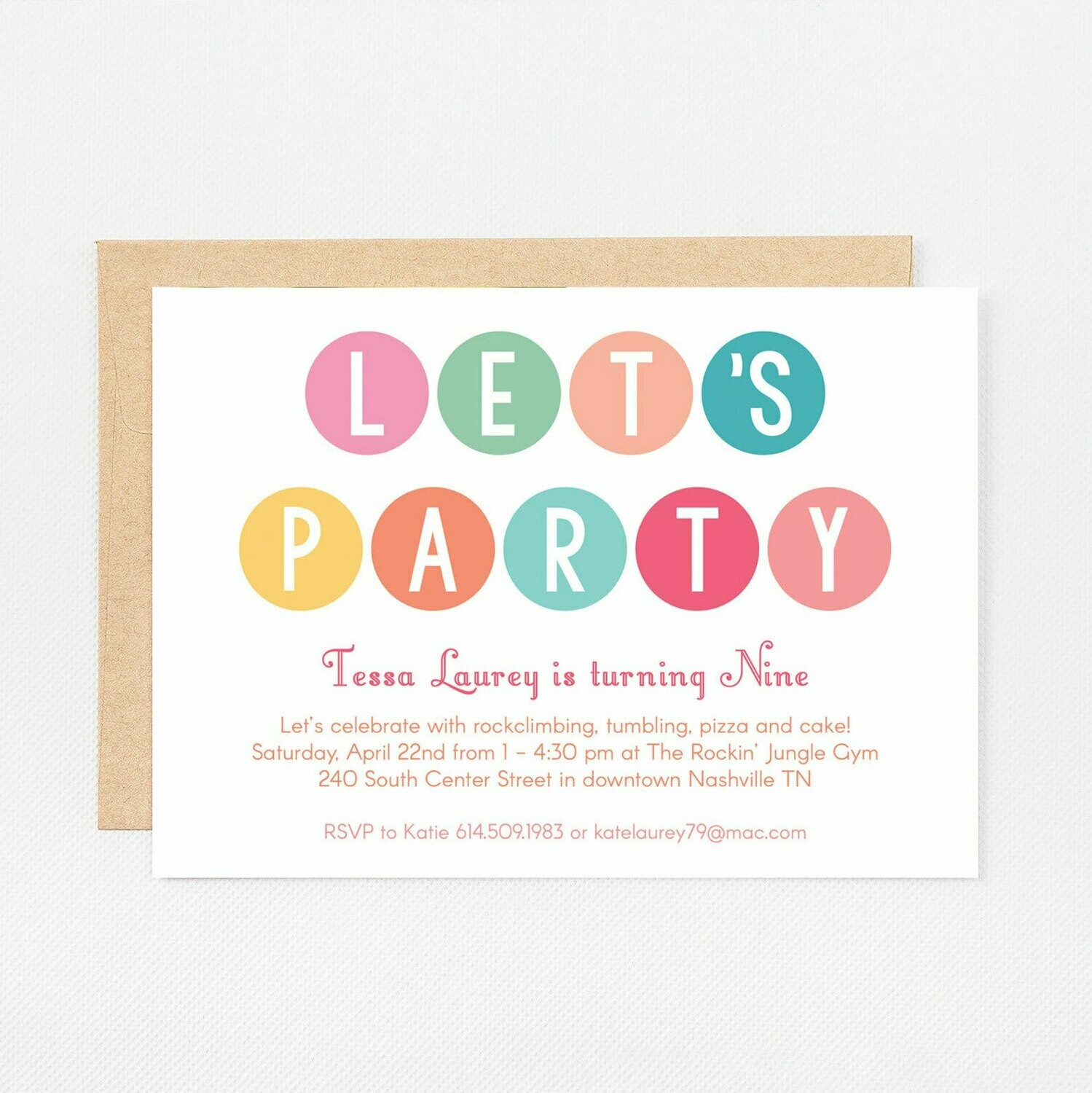 Let's Party Dots Invitation - Digital or Printed