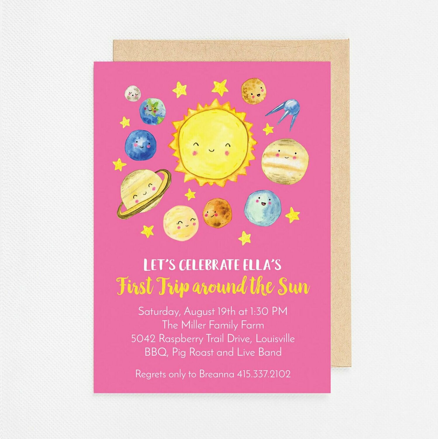 First Trip Around the Sun Birthday Invitation - Digital or Printed