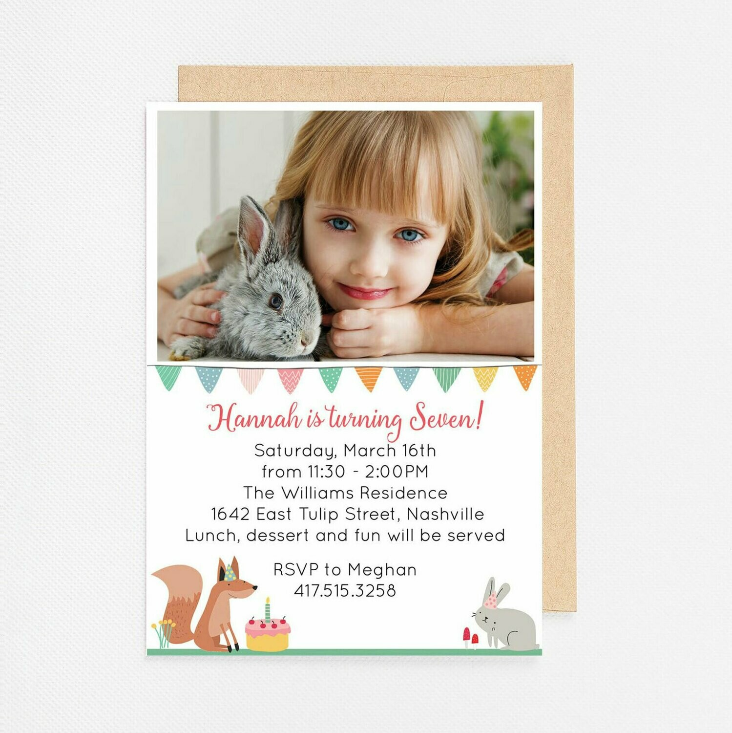 Woodland Birthday Photo Card Invitation - Digital or Printed