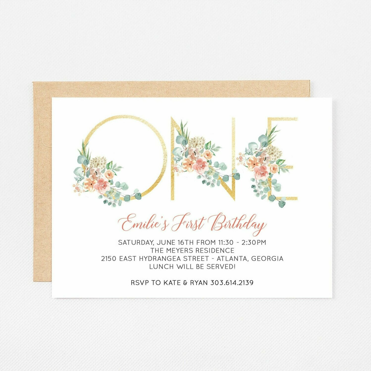 First Birthday Gold Watercolor Invitation - Digital or Printed