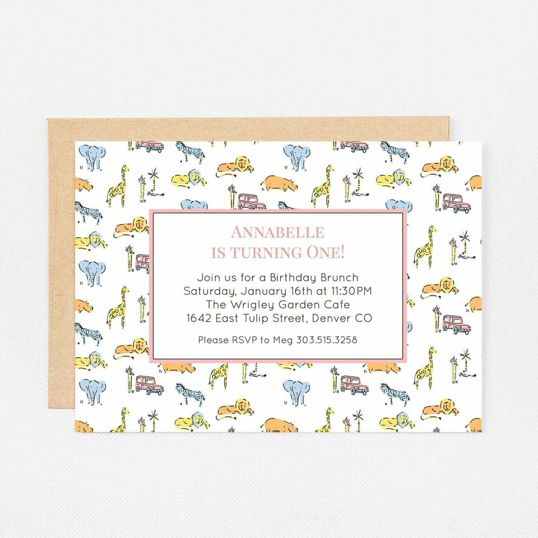 Pink Safari Zoo Animals Invitation - Digital or Printed