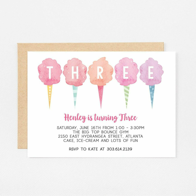 Cotton Candy Third Birthday Invitation - Digital or Printed