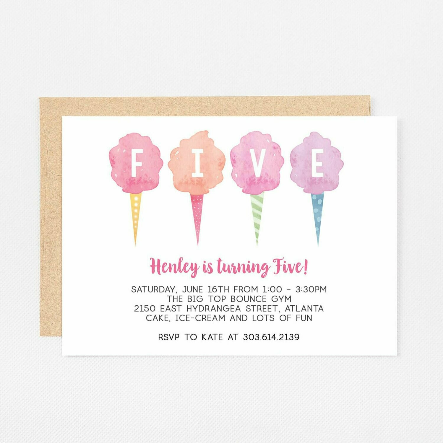 Cotton Candy Fifth Birthday Invitation - Digital or Printed
