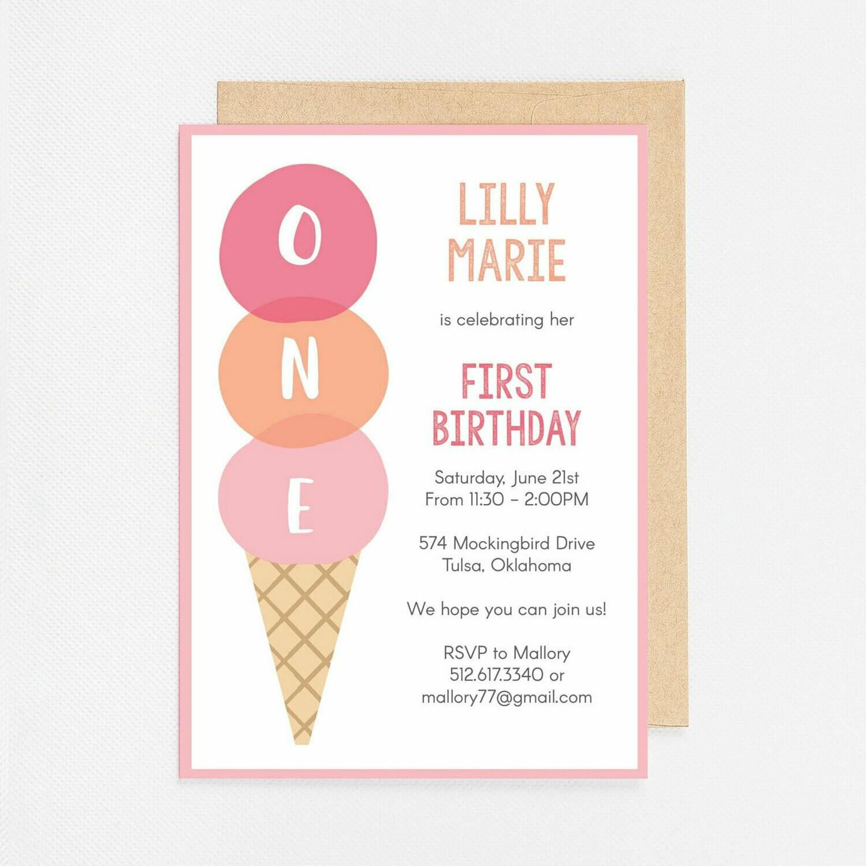 First Birthday Ice Cream Invitation - Digital or Printed