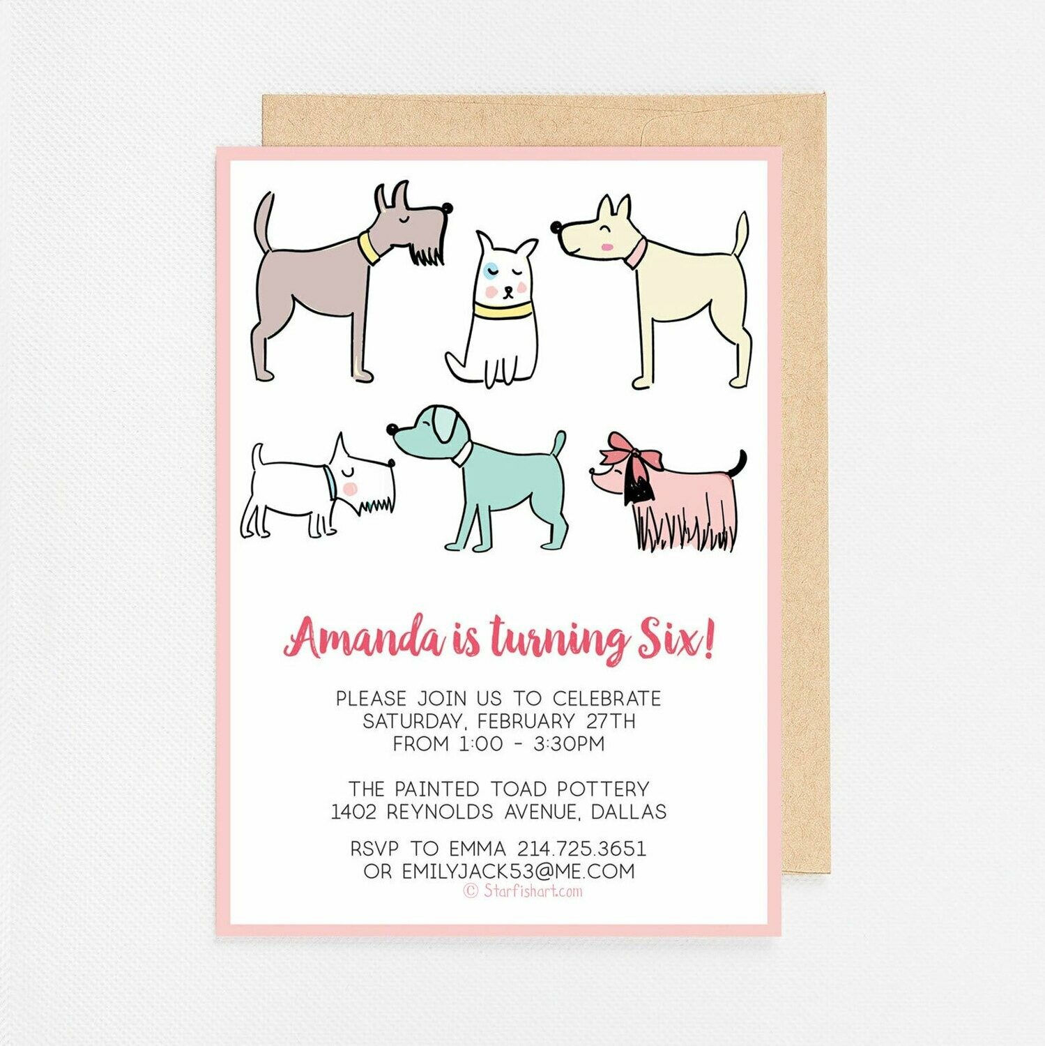 Puppy Dogs Pink Invitation - Digital or Printed