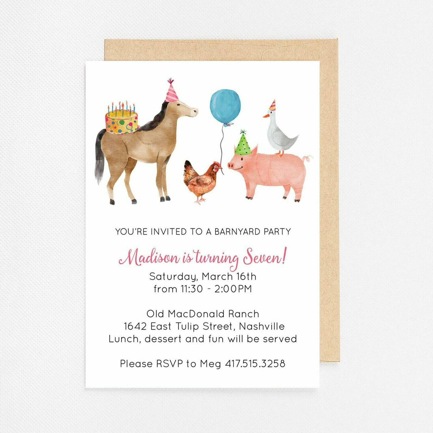 Farm Animals Birthday Invitation - Digital or Printed