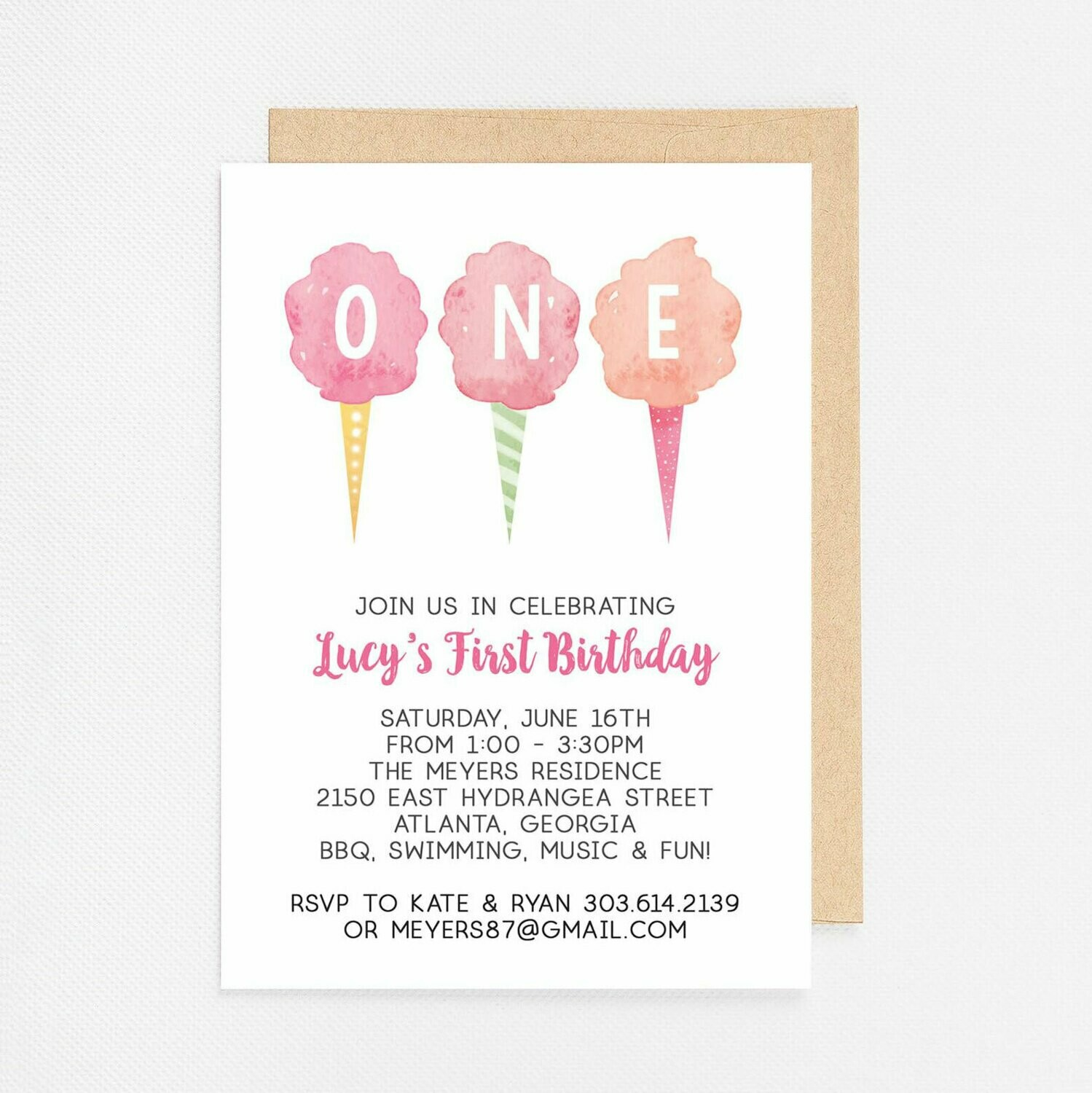 Cotton Candy First Birthday Invitation - Digital or Printed