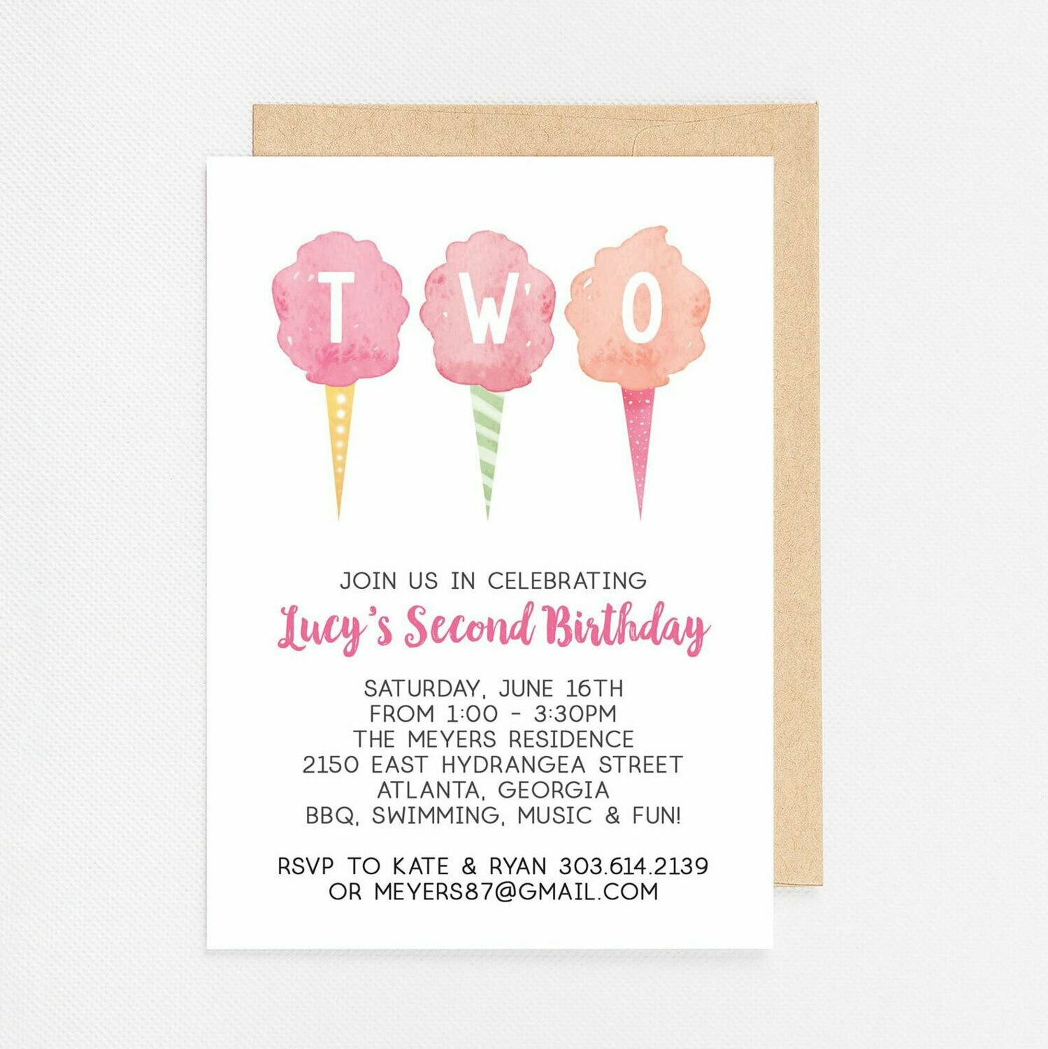 Cotton Candy Second Birthday Invitation - Digital or Printed