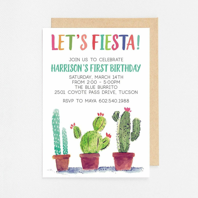 Watercolor Cactus Fiesta Invitation - Digital or Printed