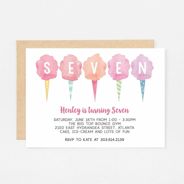 Cotton Candy Seventh Birthday Invitation - Digital or Printed