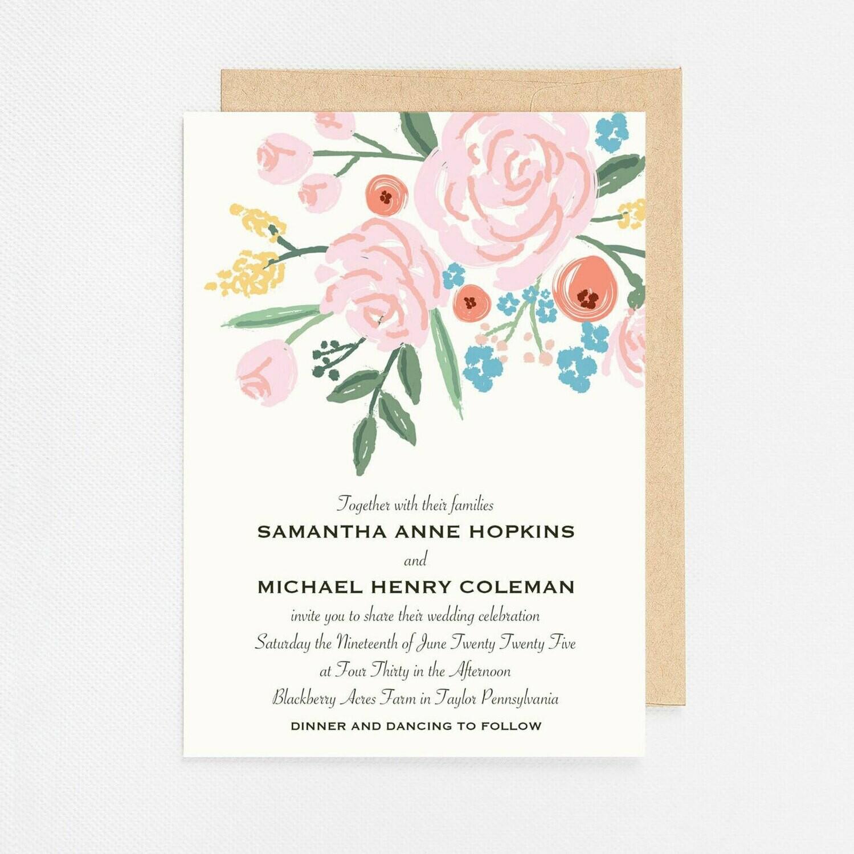 Pink Floral Bunch Invitation - Digital or Printed