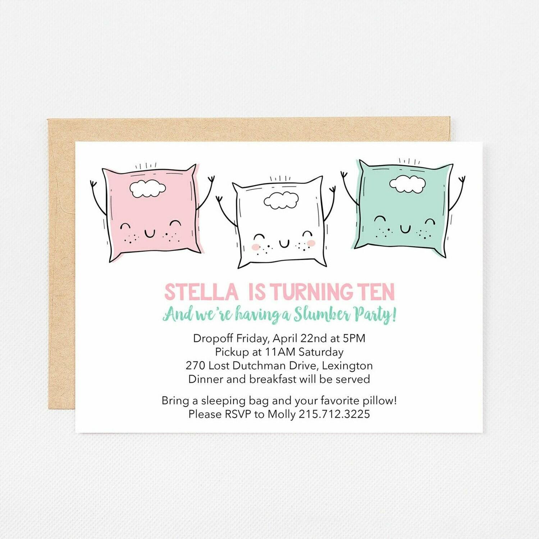 Slumber Party Pillows Invitation - Digital or Printed