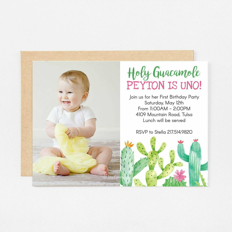 Holy Guacamole Cactus Photo Invitation - Digital or Printed