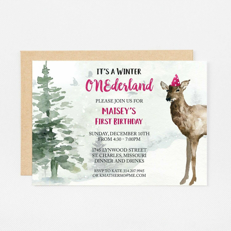 Deer Winter Wonderland Pink Invitation - Digital or Printed