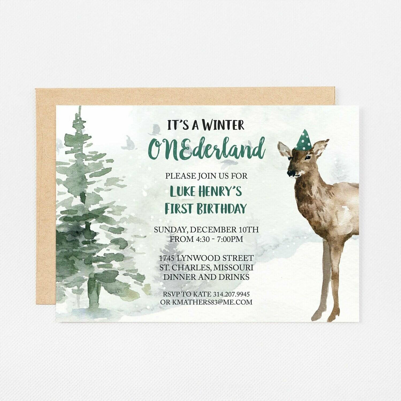 Deer Winter Wonderland Green Invitation - Digital or Printed