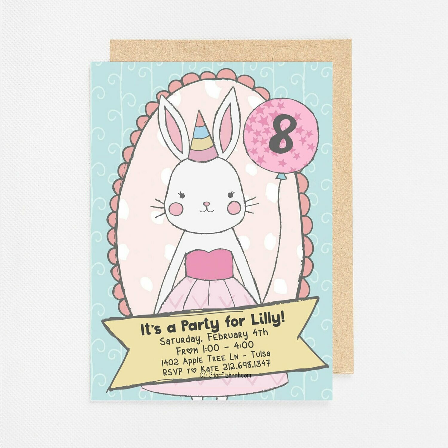 Pink Bunny with Balloon Invitation - Digital or Printed