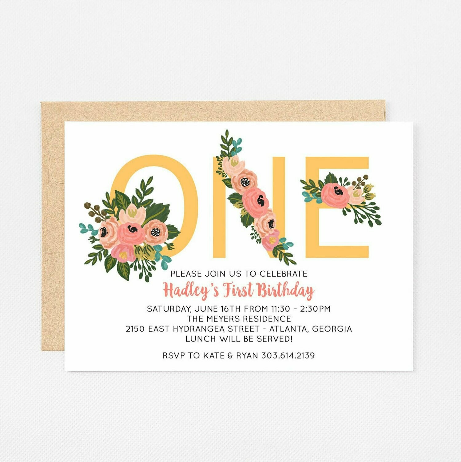 Floral One First Birthday Invitation - Digital or Printed