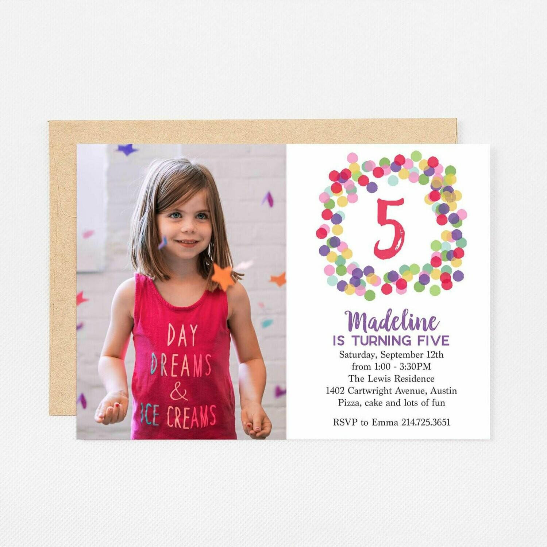 Pink Bubbles Photo Invitation - Digital or Printed