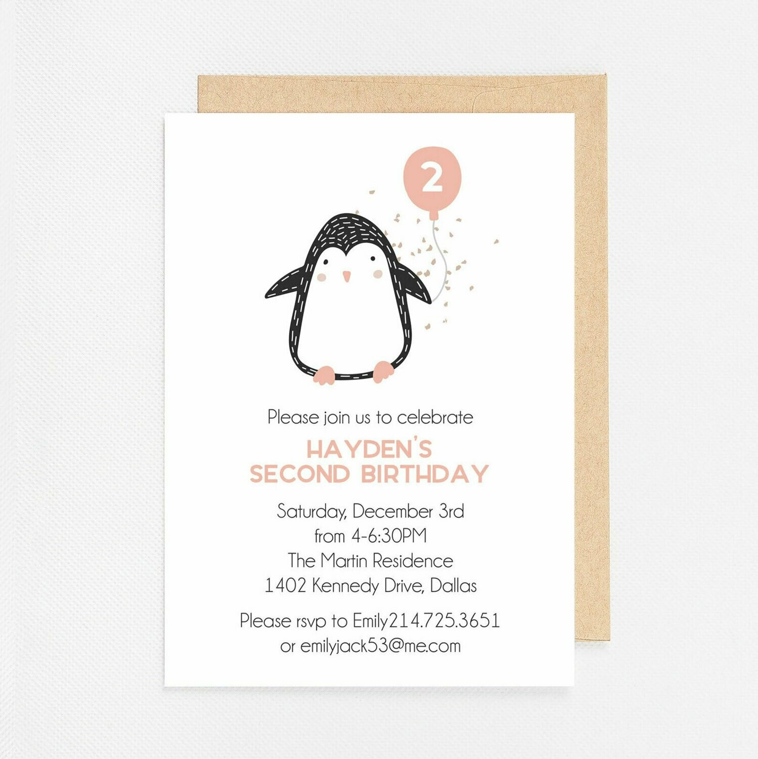 Pink Penguin with Balloon Invitation - Digital or Printed