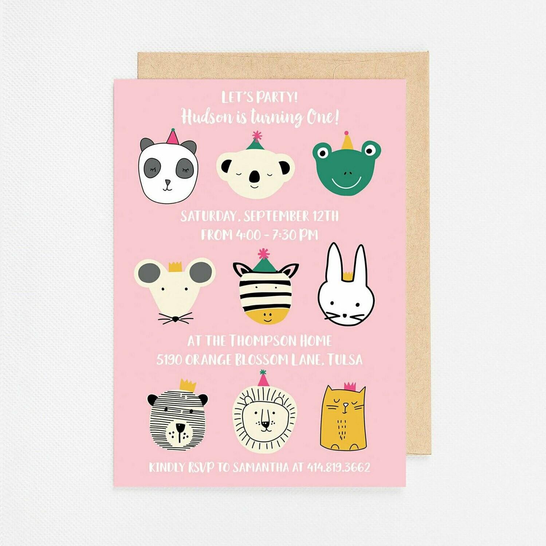 Pink Party Animal Invitation - Digital or Printed