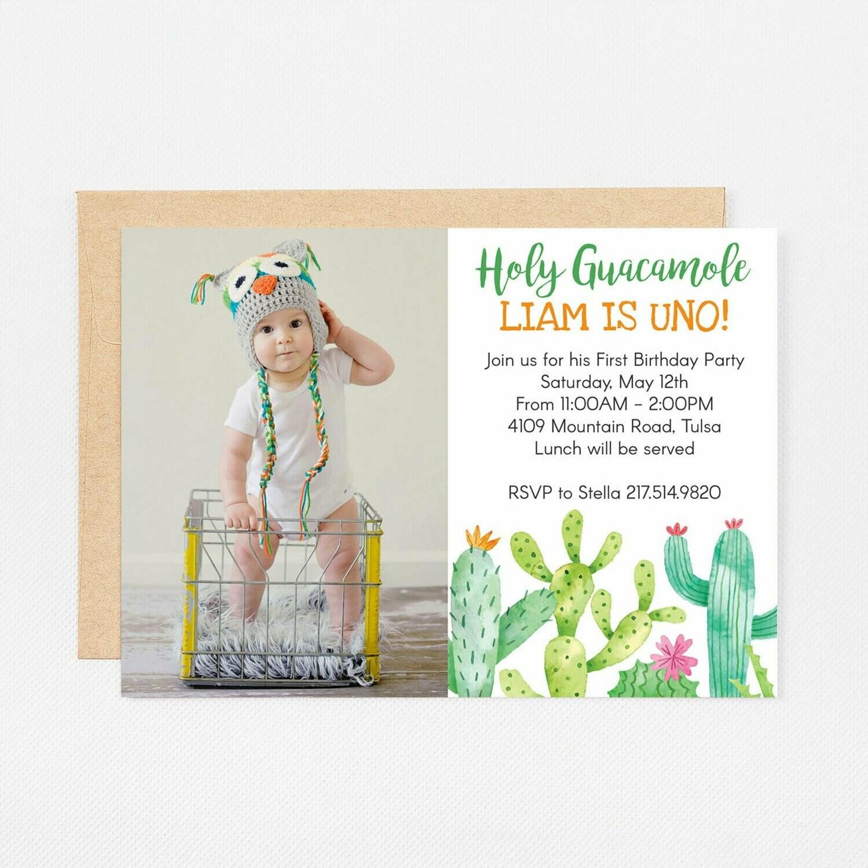 Holy Guacamole Green Cactus Photo Invitation - Digital or Printed