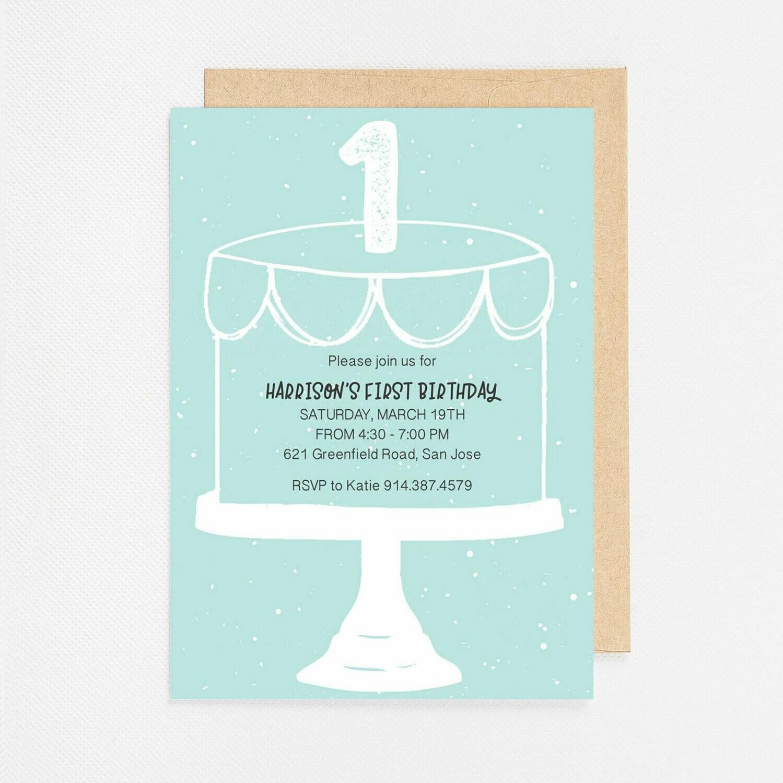 First Birthday Blue Cake Invitation - Digital or Printed